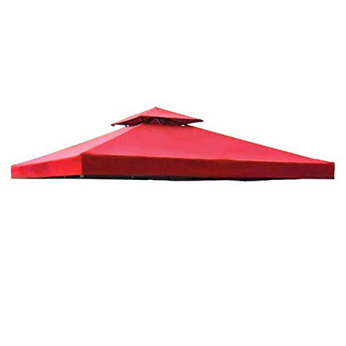 Durable 8' x 8' Feet/ 96-inch Square Red Polyester Fabric Garden Canopy Gazebo Replacement Top 2-Tier Zipper Vent Net UV Protect Sun Shade for Outdoor Patio Cover Generic
