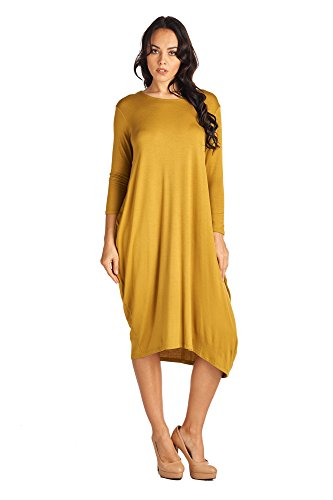 82D-8255RS-DMD-MD Women's Rayon Span Long Sleeves Loose Fit Jersey Midi Dress - Solid