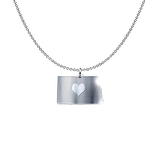 mmandiDESIGNS North Dakota State Heart Pendant Necklace - Solid .925 Etched Sterling Silver Gift