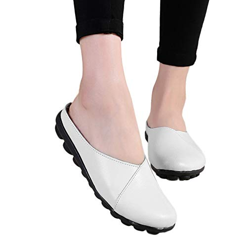 ▶HebeTop◄ Women's Rubber Sole Breathable Natural Walking Flat Loafer, Soft Bottom Shoes White