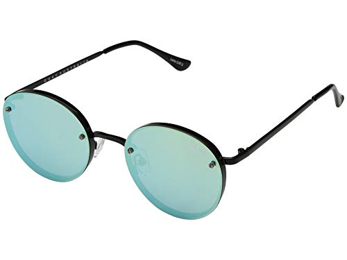 Quay Australia Women's Farrah Round Sunglasses, Black/Mint Mirror, One ()