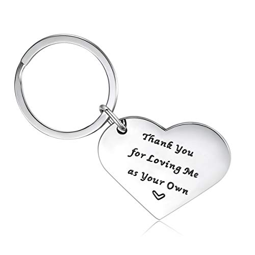 (CERSLIMO Keychain Mom Gifts Thank You for Loving Me As Your Own Keychain Birthday for Women)