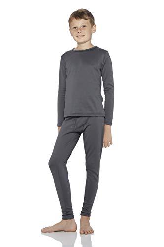 Rocky Boy's Fleece Lined Thermal Underwear 2PC Set Long John Top and Bottom (XS, Charcoal)