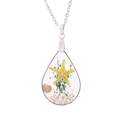 Artmiss Starfish Pendant Necklace Seashell Teardrop Ocean Beach Conch Resin Transparent Long Necklace Chain for Women (Yellow) ()