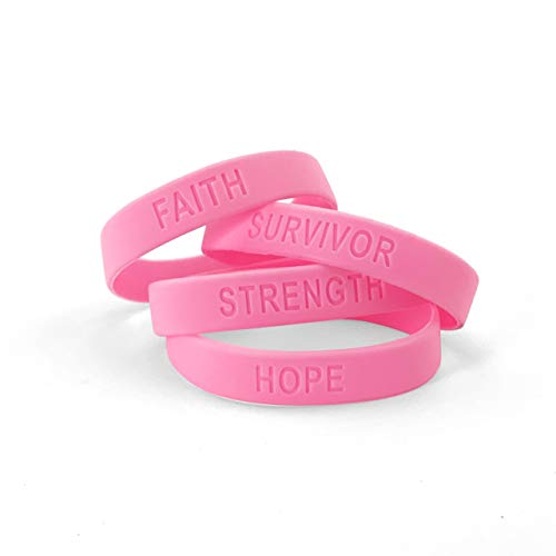 Ifavor123 Pack of 144 Strength Faith Hope Survivor Breast Cancer Awareness Pink Wristband Bracelets (Cancer Hand Bands)