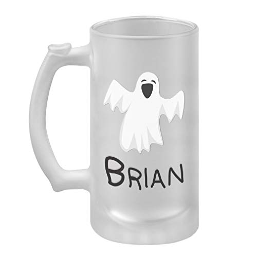 Custom Text Personalized Funny Ghost Decoration Halloween Glass Stein Beer -