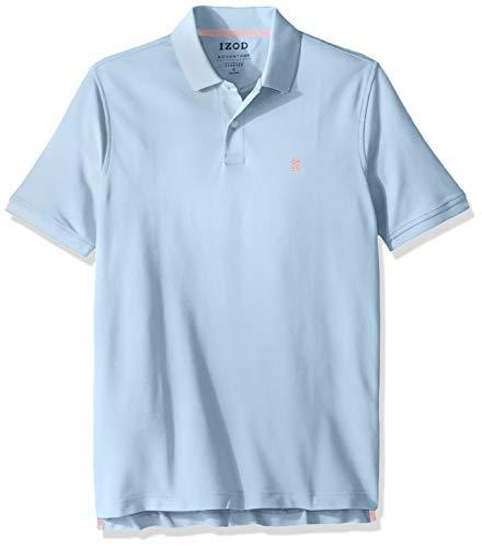IZOD Men's Advantage Performance Short Sleeve Solid Heather Polo, Placid Blue, Large ()