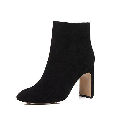 Nine Seven Cuero Moda Puntera Cuadrada Botines de Tacón de Grueso con Cremallera de Vestir para Mujer (38.5, negro)