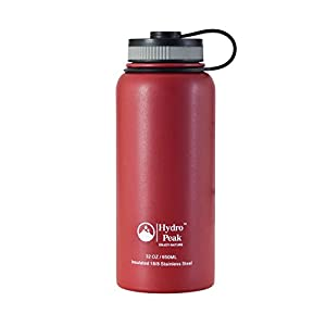 Hydro Peak Stainless Steel Insulated Water Bottle, 32 oz - Red