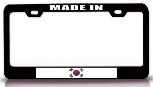 Custom Auto Frames Made in South Korea Country Flag License Plate Frame for Women, Aluminum Metal License Plate Frame with Chrome Screw Caps - 2 Holes Car License Plate Cover for US Vehicles