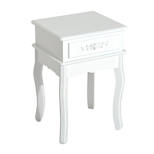 """HOMCOM 24"""" Wood Living Room End Side Table with Storage Drawer - White"""