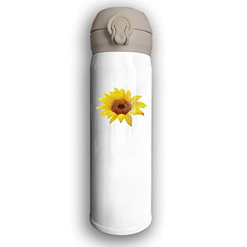 Adhone Designed Beauty Sunflower Stainless Water Bottle, Sports Drinking Bottle/Travel Coffee Mug, Leak-Proof Vaccum Cup, with Bounce Cover, White