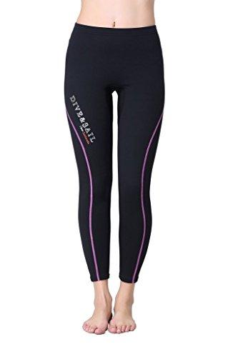 DIVE & SAIL Women's Wetsuit Neoprene Diving Snorkeling Scuba Surf Canoe Pants, Purple Trim, Medium/1.5mm