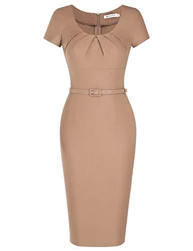 MUXXN Ladies Retro 1960s Desgin Scoop Neck Ruched Knee Length Casual Work Dress (Camel L)