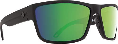 Spy Optic Rocky Rectangular Sunglasses, Soft Matte Black/Happy Bronze Polar/Green Spectra, 1.5 ()