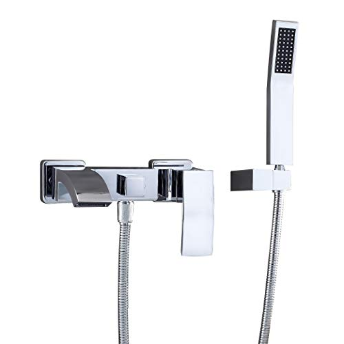 (JiuZhuo Wall-Mount Angled Waterfall Spout Single Handle Tub Filler Faucet with Hand Shower Set Solid Brass in Polished Chrome)