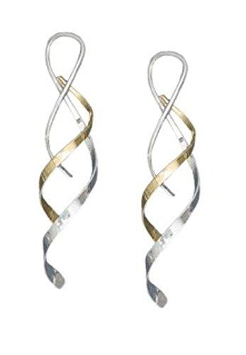Wrap Dangle Wire Silver (Sterling Silver Fancy Double Wire Streamer Wrap Drop Dangle Earrings)