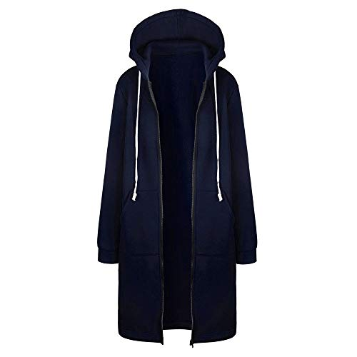♞Deadness-Womens Women's Winter Zip Drawstring Wool Blend Long Pea Coat with Hood Warm Hooded Outdoor Jacket Navy ()