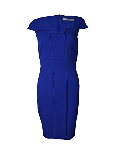 (Marc New York Women's Square Neck Satin Trimmed Sheath Dress (4, Sapphire))