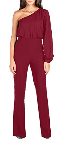 WFTBDREAM Jumpsuits For Women Elegant Solid For Wedding Party Wine Red M