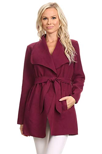 Belted Wool Coat Via (Women's Waterfall Belted Wrap Long Sleeve Wrap Trench Pea Coat Cardigan (Large, Burgundy))