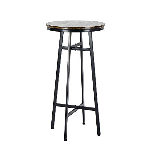 (Round Tables,Bar Height Pub Bistro Cocktail Pedestal Table,Retro Kitchen Dining&Living Room Table - Black Metal Base - Natural Wood Top - Rustic Brown)