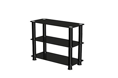 Premier AV TV Stand, Glass/ Steel, All Black ( High height 60cm)