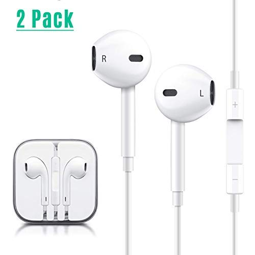 2 Pack Earphones/Earbuds/Headphones, Totech 3.5 mm Earphones HD Sound Bass with Mic and Switch Song Control for IP 6s/6 Plus/5s/5c/5/4s/SE Pad/Pod 7 Samsung Galaxy/Note and Android Smartphones