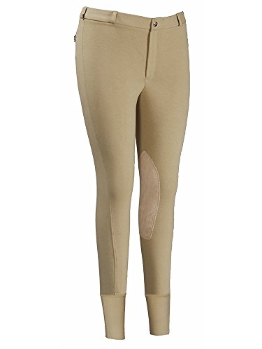 TuffRider Men's Cotton Knee Patch Breeches (Regular), Sand, 34 (Rider Knee Patch Breech)