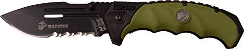 U.S. Marines by MTech USA M-A1053GN Spring Assist Folding Knife, Black Blade, Green Handle, 5-Inch Closed