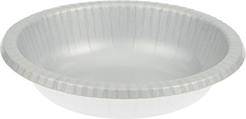 Creative Converting Paper Bowls 20oz 20//Pkg-Shimmering Silver
