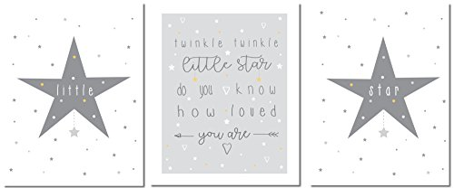 Children's Nursery Prints – 8 x 10 inches Premium Nursery Wall Art – Professionally Printed Nursery Art – Twinkle Twinkle Themed Nursery Wall Art Set – Unframed – Set of 3 – by BambinoCo