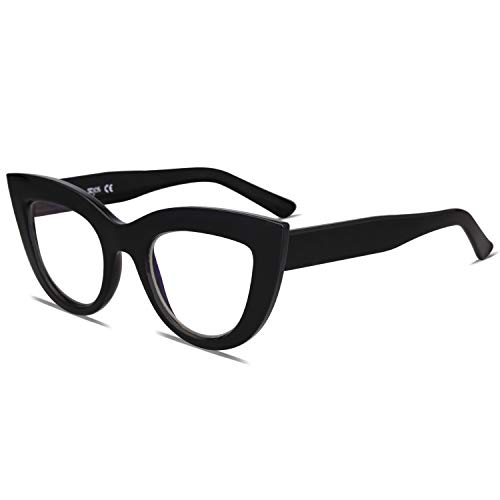 SOJOS Blue Light Blocking Glasses Retro Vintage Cateye Eyeglasses for Women Plastic Frame Hipster Party with Black Frame/Anti-Blue Light ()