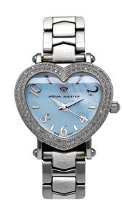 Aqua Master Ladies' Two-Row Diamond Heart Watch, 1.25 ctw