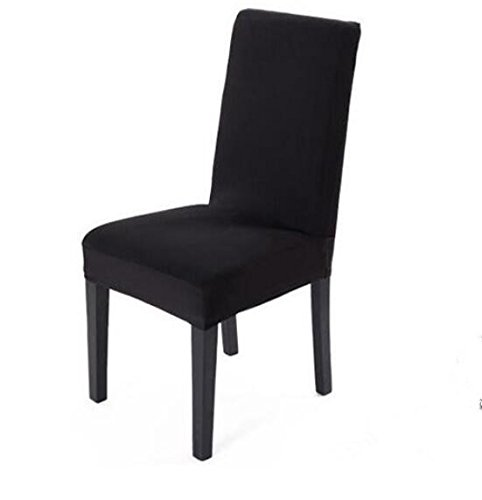 Spandex Stretch Washable Dining Room Chair Cover Protector Seat Slipcovers (Black, 1)