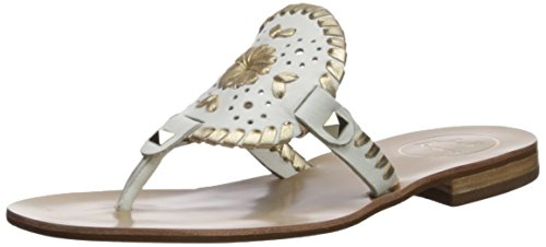Jack Rogers Women's Georgica Flat Sandal, White/Gold, 9 Medium US by Jack Rogers