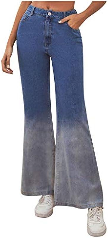 Vectry dżinsy damskie, wysokie w talii, denim, szerokie nogawki, luźne, Fit: Odzież