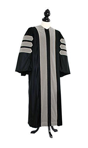 TIMELESS Women Deluxe Doctoral of Oratory (Speech) Academic Gown for faculty and Ph.D. gold silk Custom Size Black by TIMELESS - bespoken