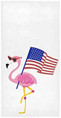 Patriotic Flamingo Usa Flag Soft Hand Towels 16x30,Decorative Memorial Day 4th of July Fingertip Kitchen Dish Towels Washcloth for Bathroom, Hotel, Gym and Spa
