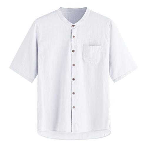 (ERLOU Men's Summer Solid Color Cotton Button Pocket Short Sleeve Collar Tank Tops Casual Blouse T-Shirts (White, XXL))