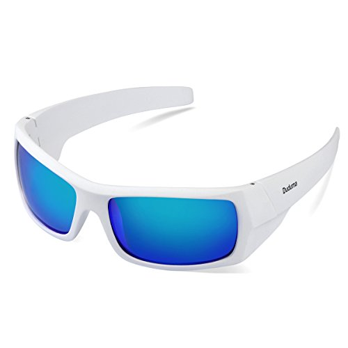 Duduma Tr601 Polarized Sports Sunglasses for Baseball Cycling Fishing Golf Superlight Frame (139 white frame with blue - Frames Sunglasses For