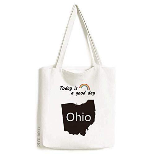 (Ohio America USA Map Silhouette Tote Canvas Bag Craft Washable Fashion Shopping Handbag)