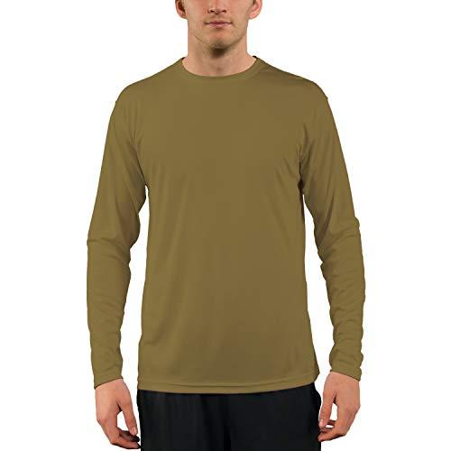 Vapor Apparel Men's UPF 50+ UV Sun Protection Performance Long Sleeve T-Shirt Medium Coyote Tan (Best Running Shirts For Hot Weather)