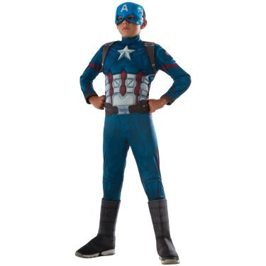 Deluxe Kids Muscle Captain America Costumes (Boys Child Marvel Deluxe Captain America Muscle Chest Costume (Large))