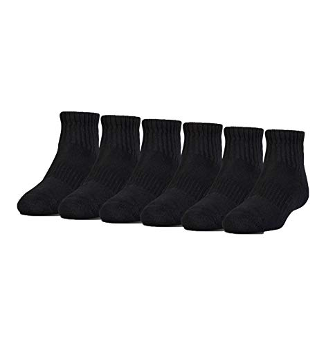 Under Armour Boy`s UA Charged Cotton 2.0 Quarter Socks 6pk 13.5K-4Y Blk/Gray