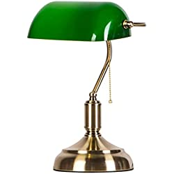 Hotel Table Lamp Antique Bank Emerald Green Glass Table Lamp, Metal Beads Pull Line Accessorie, Reading Lamp Bedroom Desk Lamp E27 A+