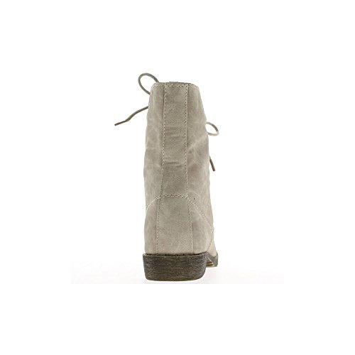 Bottines montantes femme beiges à talon de 2cm