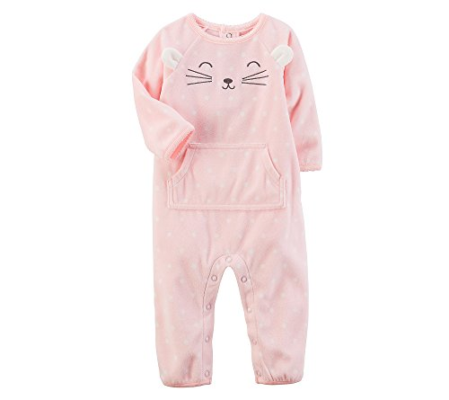 Carter's Baby Girls' Fleece Character Jumpsuit 9 Months, Pink