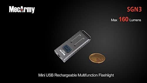 MecArmy SGN3 160 Lumen Micro Sized LED Rechargeable Keychain Flashlight with UV and Red LEDs for Everyday Carry Stone Wash
