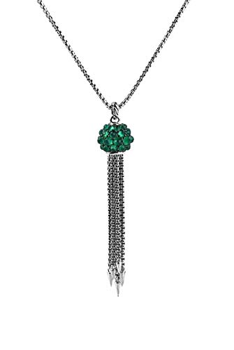 - David Yurman 13mm Osetra Cable Berries Faceted Gemstones & Sterling Silver Tassel Necklace Green Onyx 39N